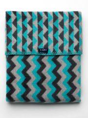 Womar Dětská bavlněná deka se vzorem Cik-Cak Womar 75x100 grafitovo-šedo-tyrkysová