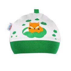 NEW BABY Kojenecká bavlněná čepička New Baby Liška zelená - Kojenecká bavlněná čepička New Baby Liška zelená