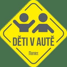 Mamiee Samolepka Děti v autě tmavošedá na žluté