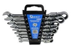 GEKO Klíče ráčnové očkoploché s kloubem, sada 8ks, 8-22 mm, plast. držák
