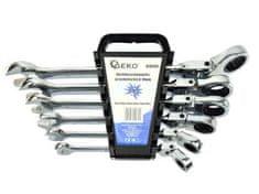 GEKO Klíče ráčnové očkoploché s kloubem, sada 6ks, 8-19mm, plast. držák