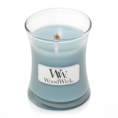 Woodwick Sea Salt & Cotton illatgyertya üvegben 85 g