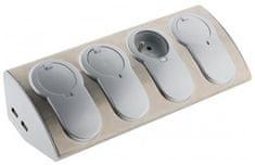 Moveto Zásuvková rohová lišta, 4 zásuvky s 2× USB 760081