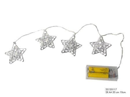 Toro Řetěz 10 led světel, stříbrné hvězdy