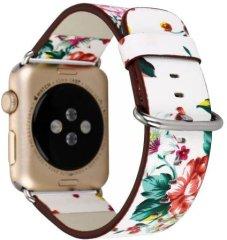 eses Kožený květinový řemínek 38/40 mm bílý/červený pro Apple Watch (1530000163)