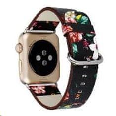 eses Kožni remen 38/40 mm, crni/crveni, za Apple Watch (1530000163), cvjetni