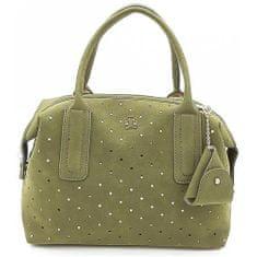 Kufříková kabelka s ažurovým vzorem v zelené barvě
