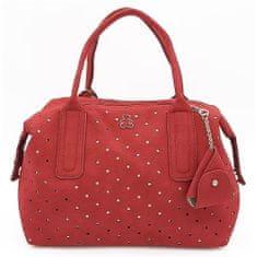 Kufříková kabelka s ažurovým vzorem v červené barvě