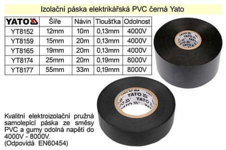 YATO Izolační páska elektrikářská PVC šíře 19mm délka 20m černá Yato