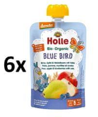 Holle Bio Blue Bird 100% ovocné pyré hruška, jablko, čučoriedky, vločky - 6 x 100g