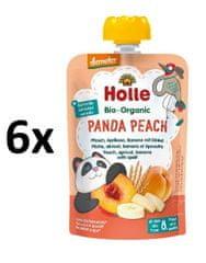 Holle Bio Panda Peach 100% ovocné pyré broskev, meruňka, banán a špalda - 6 x 100g