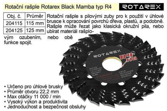 Rotarex Rotační rašple Black Mamba R4 / 115mm