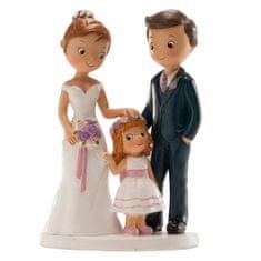 Dekora Svatební figurka na dort 16cm manželé s holčičkou