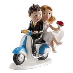 Dekora Svatební figurka na dort svatba na motorce