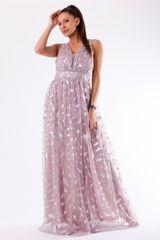 Stylomat Fialové večerní šaty s peříčky