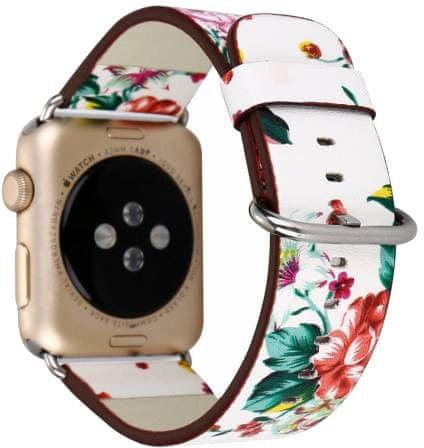 eses Skórzany pasek z kwiatem 42/44 mm Biało-czerwony do zegarka Apple Watch (1530000164)