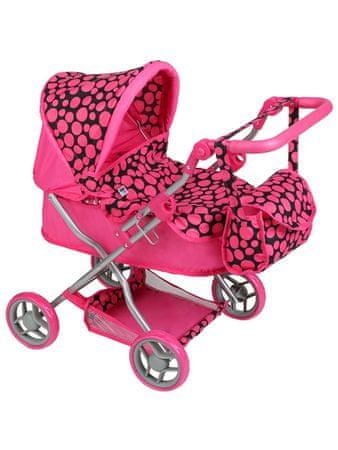 PLAYTO Hluboký kočárek pro panenky PlayTo Viola růžový