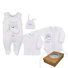 KOALA 4-dílná kojenecká souprava Koala Fox Love bílá - 4-dílná kojenecká souprava Koala Fox Love bílá