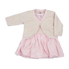 KOALA Kojenecké bavlněné šatičky s bolerkem Koala Dots růžové - Kojenecké bavlněné šatičky s bolerkem Koala Dots růžové