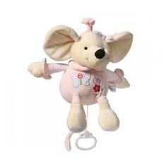 BABY ONO Plyšová hračka s hracím strojkem Baby Ono Myška růžová 31cm
