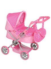 PLAYTO Hluboký kočárek pro panenky PlayTo Viola světle růžový