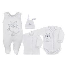 KOALA 4-dílná kojenecká souprava Koala Fox Love smetanová - 4-dílná kojenecká souprava Koala Fox Love smetanová
