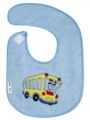 AKUKU Dětský froté bryndák Akuku modrý s autobusem