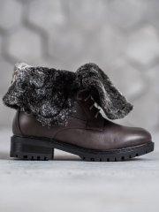 Jedinečné kotníčkové boty šedo-stříbrné dámské na plochém podpatku