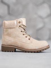 Exkluzívní hnědé kotníčkové boty dámské na plochém podpatku