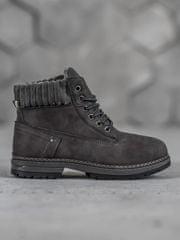 Pěkné dámské šedo-stříbrné kotníčkové boty na plochém podpatku