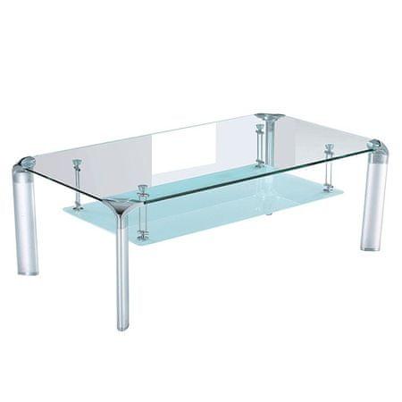 TEMPO KONDELA Konferenčný stolík RICKY, strieborný/sklo