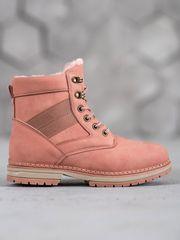 Výborné kotníčkové boty růžové dámské bez podpatku