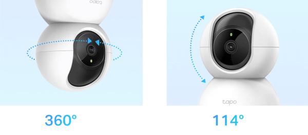 Bezpečnostná vonkajsia IP kamera TP-Link C200, objektív, rozlíšenie Full HD, nočné videnie, detekcia pohybu nastavenie uhlu záberu kamery.
