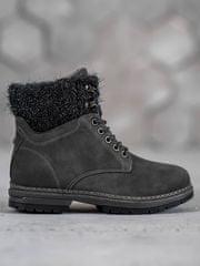 Trendy šedo-stříbrné kotníčkové boty dámské na plochém podpatku