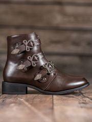 Módní hnědé dámské kotníčkové boty na plochém podpatku