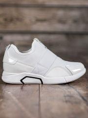 Módní dámské tenisky bílé bez podpatku