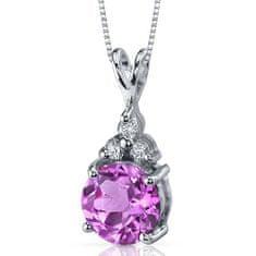 Eppi Růžový safír ve stříbrném náhrdelníku se zirkony Vaishali P31333