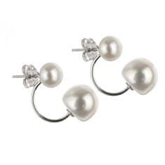 Eppi Dvojité stříbrné náušnice s perlami Dohna E32375