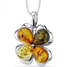 Eppi Květinový stříbrný náhrdelník s jantary Eunice P31835