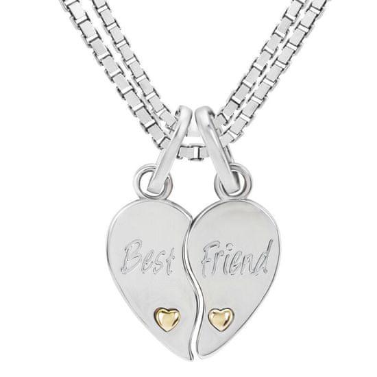 Eppi Dve polovice strieborných srdc s nápisom Best Friend P35606