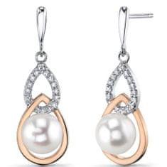 Eppi Elegantné perlové náušnice zo striebra Zizu E32787