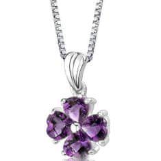 Eppi Ametystový čtyřlístek ve stříbrném náhrdelníku Kylie P33198