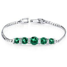 Eppi Strieborný náramok s päticou smaragdov Romula BR31437