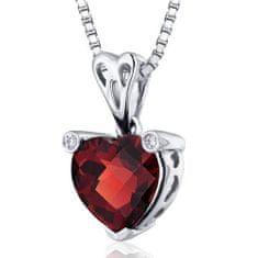 Eppi Granátové srdce ve stříbrném náhrdelníku Naganika P31336