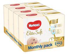 Huggies Elite Soft 1 Newborn (3-5 kg) 104 ks (4x26 ks) - Mesačné balenie