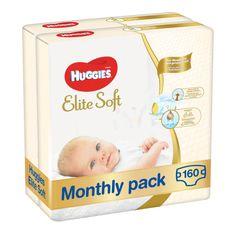 Huggies pieluszki Elite Soft 2 Newborn (4-6 kg) 160 szt. (2x80 szt.) - opakowanie miesięczne