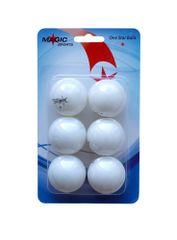Magic Sports 1-Star set žogic za namizni tenis, 6 kosov, bele