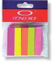 Concorde Záložky samolepicí papírové 12 x 50 mm/5 x 100 listů neon