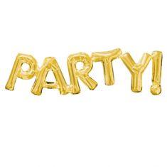 """Amscan Fóliový balónek """"Party!"""" ZLATÝ, 83 cm x 22 cm"""