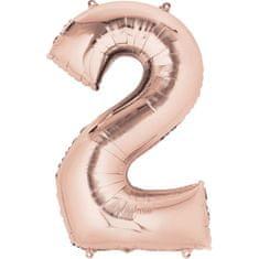 """Amscan Fóliový balónek číslo """"2"""" RŮŽOVO-ZLATÝ, 88 cm"""